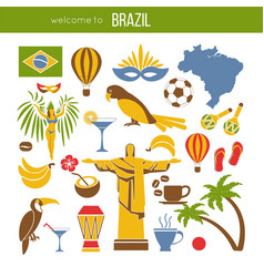 Brazil sightseeing landmarks and famous vector