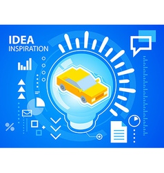 bright light bubble and car on blue backgrou vector image vector image