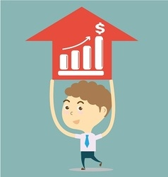 businessman holding red arrow with growth bar vector image
