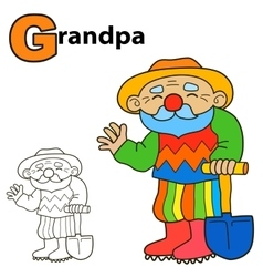 Cartoon grandpa coloring book page colours game vector