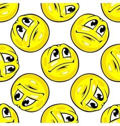 Cartoon yellow emoticons seamless pattern vector image