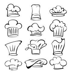 chef hats collection cartoon vector image