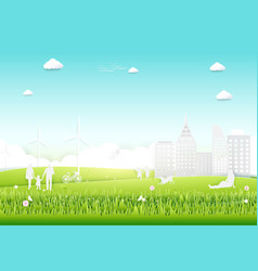 ecology concept with green city and trees vector image vector image