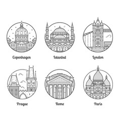 europe travel destinations icons vector image vector image