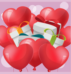 Gift red heart balloon vector