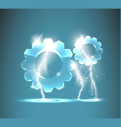 Glass gear icon with realistic lightnings vector