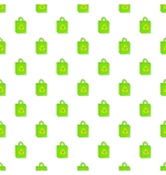 Green paper shopping bag pattern cartoon style vector