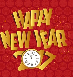Happy new year 2017 gold clock oriental chinese vector