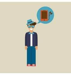 Hipster character smartphone headphones vintage vector