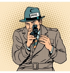 Journalist takes on retro camera Paparazzi vector image vector image