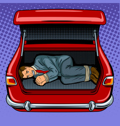 Kidnapped man in the car trunk pop art vector