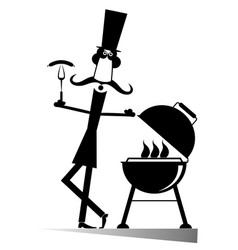 Man and barbecue isolated vector