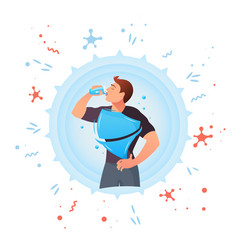 Man drinks water protection against germs vector