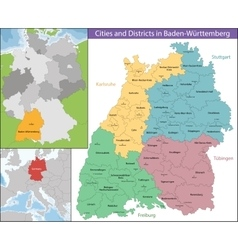 Map of Baden-Wurttemberg vector image
