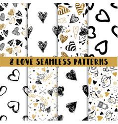 modern set of cute seamless patterns vector image
