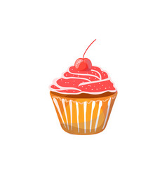 muffin with cherry on a white background vector image vector image