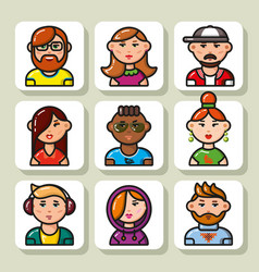 People face icons 21 vector