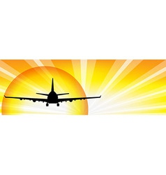 Plane And Sun vector image vector image