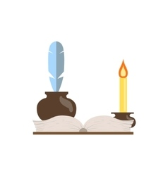 Quill journal and candle vector