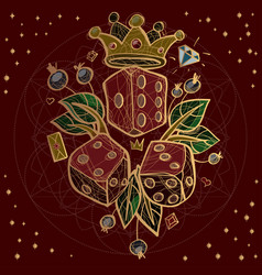 set of dices and crown on red background vector image