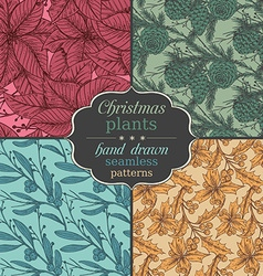 Set of four seamless patterns with hand drawn vector image
