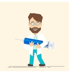 Smiling doctor with big syringe in his hands vector image