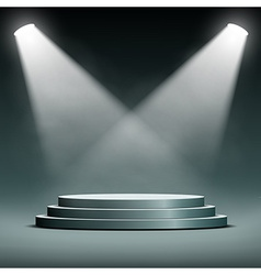 two spotlights illuminate the podium with steps vector image