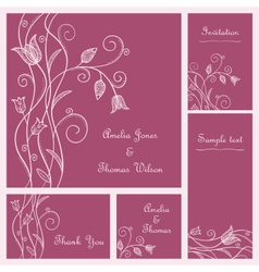 Wedding card set vector image vector image