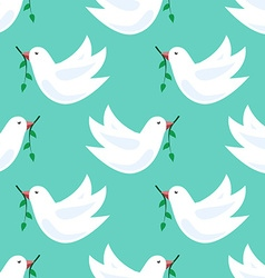 White doves seamless pattern vector image