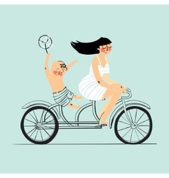 Woman and boy on tandem bicycle scooter rider vector