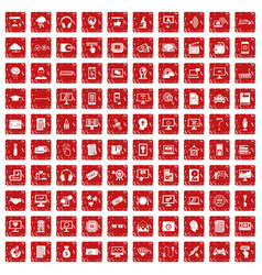 100 website icons set grunge red vector