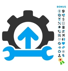 Integration tools flat icon with bonus vector