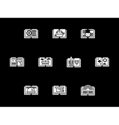 Genres of literary white glyph icons vector