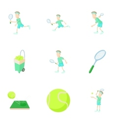 Play in tennis icons set cartoon style vector
