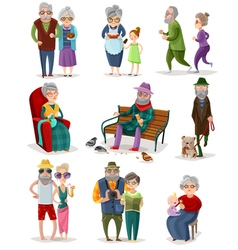Senior People Cartoon Set vector image