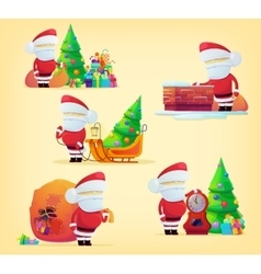 Set of santa claus with bag for 2017 new year vector image