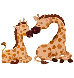 Funny giraffe cartoon with her baby vector
