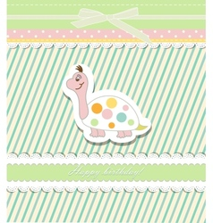 Vintage doodle baby tortoise vector image