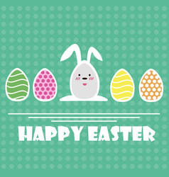 Happy easter greeting card easter eggs and vector