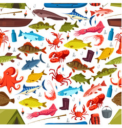 Fishes and mollusks fishing seamless vector