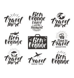 travel label set journey icons or symbols vector image
