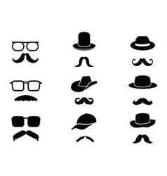 Invisible man with mustache glasses and hats vector