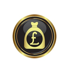 Pound in bag icon button gold copy vector