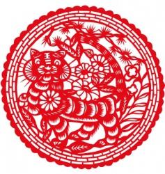 paper cut tiger vector image