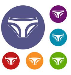 Female underwear icons set vector