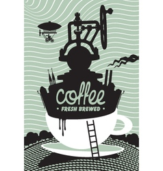 Fresh coffee preparation vector