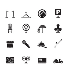 Silhouette restaurant and night club icons vector
