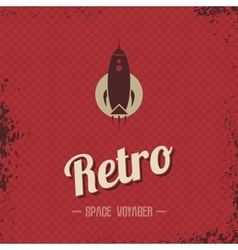Retro space rocket template theme vector