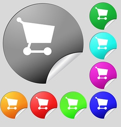 Shopping basket icon sign Set of eight vector image