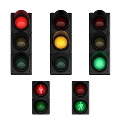 Trafic lights realistic pictograms set vector